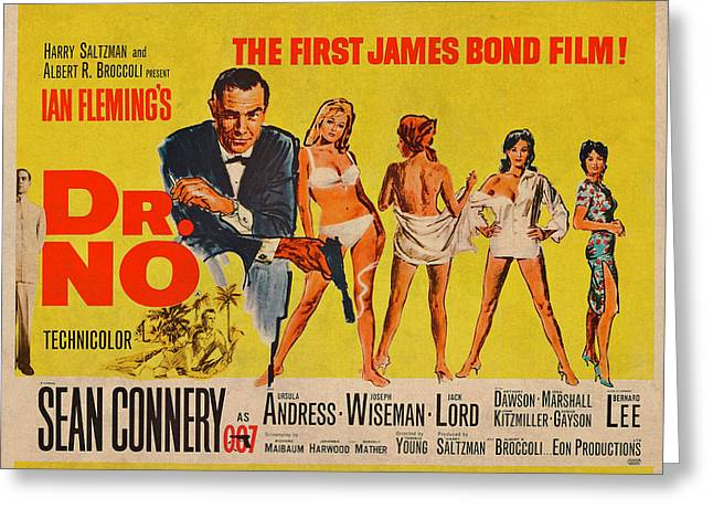 Dr No James Bond Sean Connery Vintage Movie Poster Greeting Card