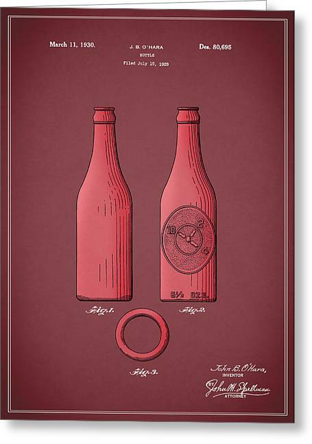 Dr Pepper Bottle Patent 1930 Greeting Card by Mark Rogan