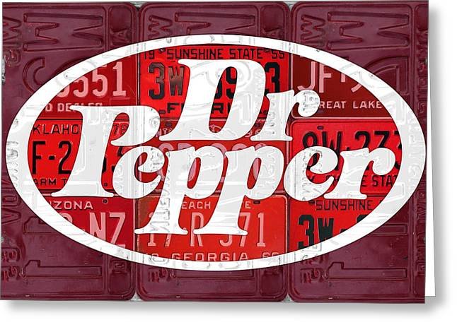 Dr Pepper Soda Pop Beverage Vintage Retro Logo Recycled License Plate Art Greeting Card by Design Turnpike