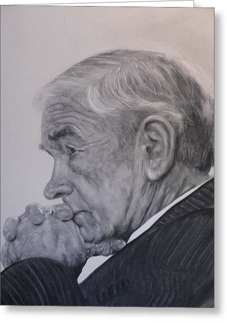 Dr. Ron Paul, Pensive Greeting Card by Adrienne Martino