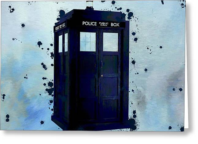 Dr Who Police Box Greeting Card by Dan Sproul