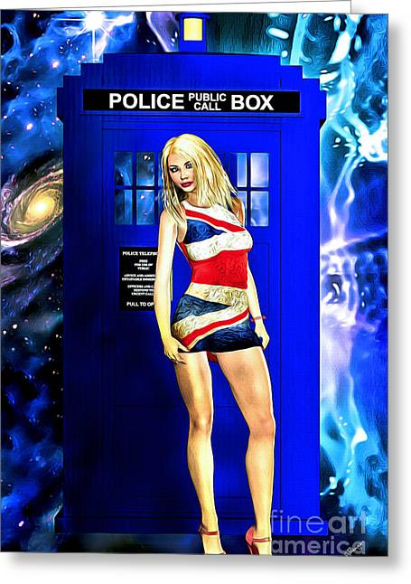 Doctor Who - Tardis And Rose Tyler Greeting Card