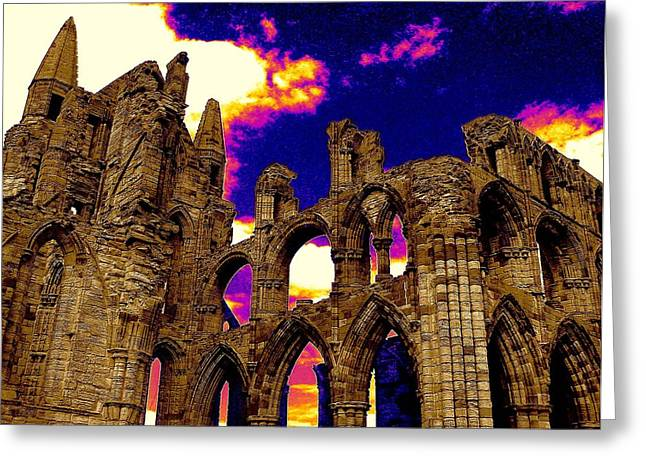 Dracula Abbey In Whitby England Greeting Card by Jen White