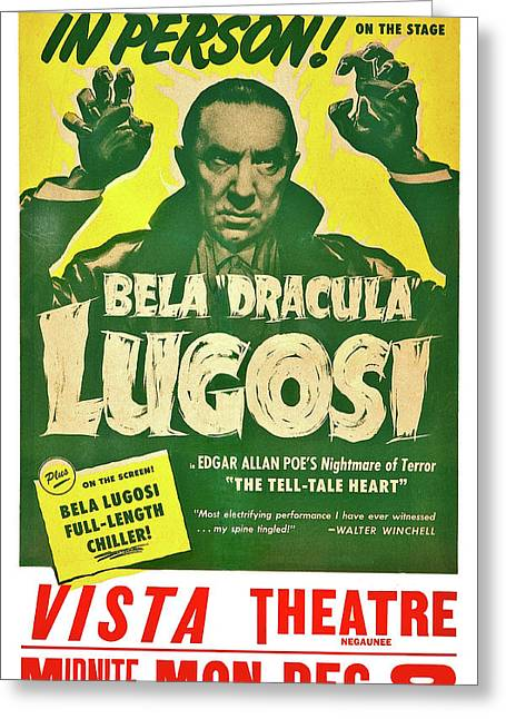 Dracula, Bela Lugosi, Vintage Horror Movie Greeting Card