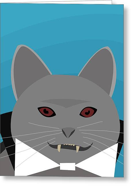 Dracula Cat Greeting Card by Pati Photography
