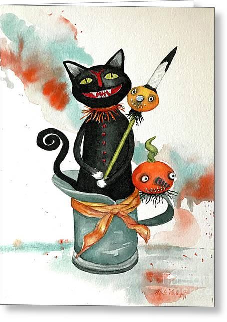 Dracula Vintage Cat Greeting Card