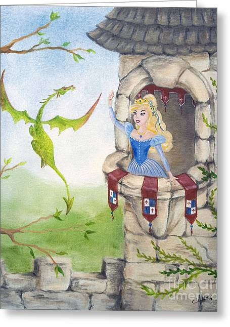 Dragon Above The Castle Wall Greeting Card