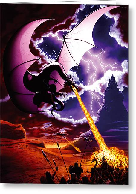 Dragon Attack Greeting Card by The Dragon Chronicles - Steve Re