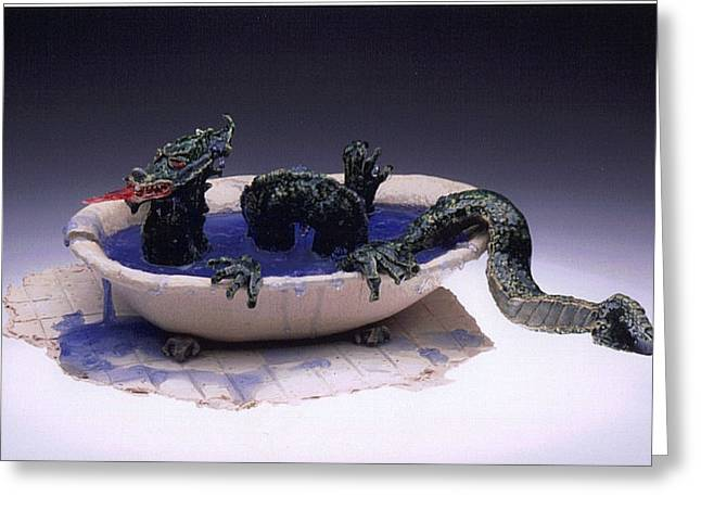 Dragon Bath Greeting Card by Doris Lindsey