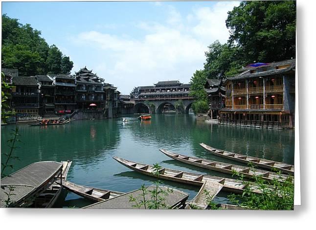 Dragon Boats On The Tuojiang Greeting Card by Nancy Aki