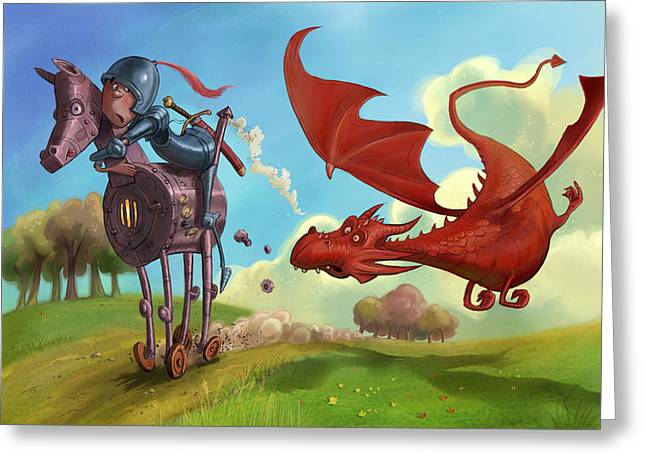 Dragon Chase Greeting Card
