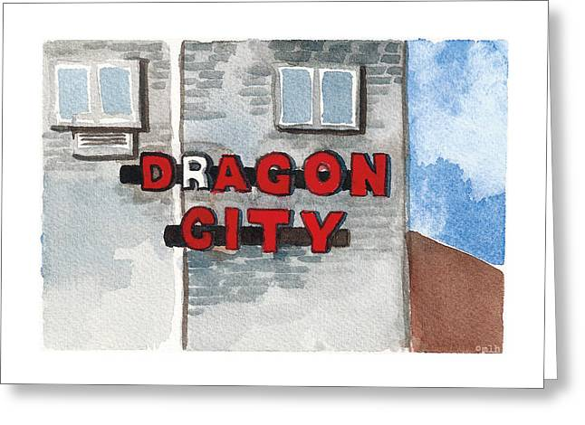 Dragon City Greeting Card by Meagan Healy