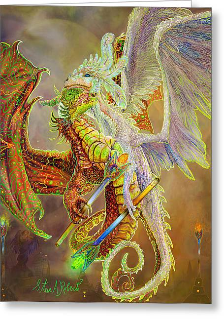 Greeting Card featuring the painting Dragon Dancers by Steve Roberts