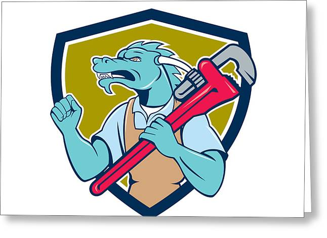 Dragon Plumber Monkey Wrench Fist Pump Shield Greeting Card by Aloysius Patrimonio