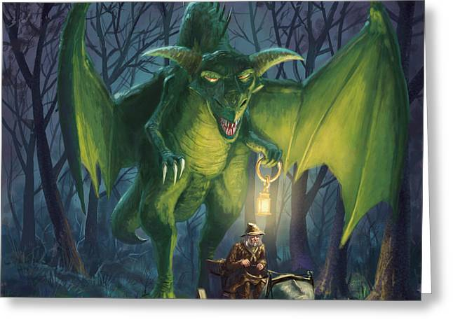 Greeting Card featuring the digital art Dragon Walking With Lamp Fantasy by Martin Davey