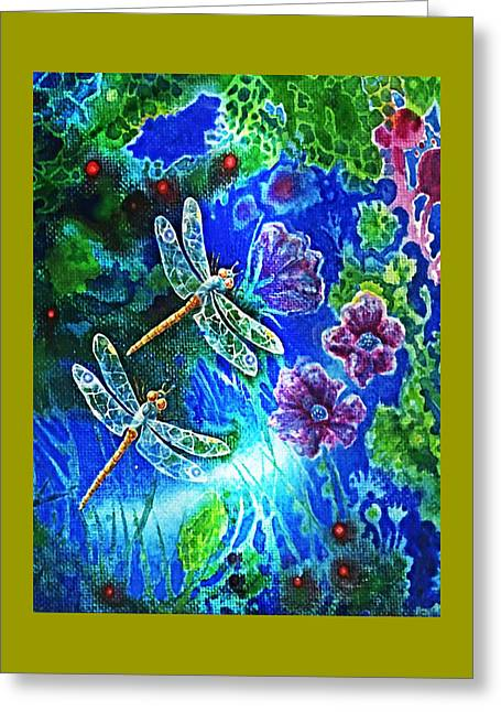 Dragonflies Greeting Card by Hartmut Jager