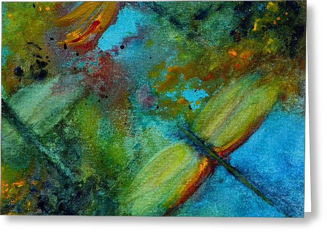 Greeting Card featuring the painting Dragonflies by Karen Fleschler