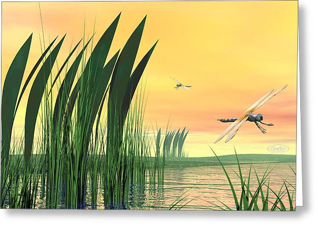 Dragonflies Upon Pond Greeting Card