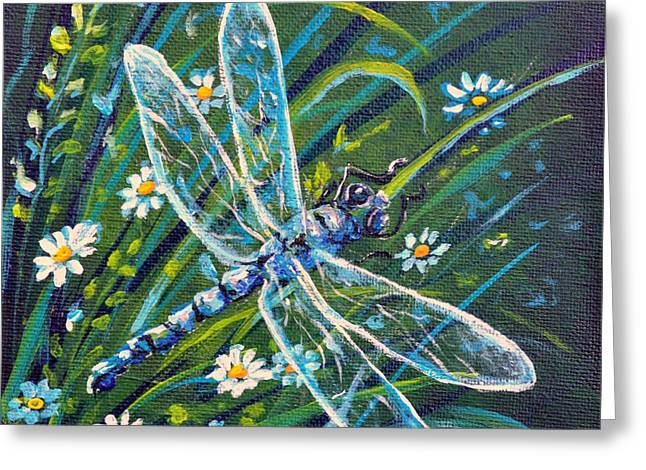 Dragonfly And Daisies Greeting Card