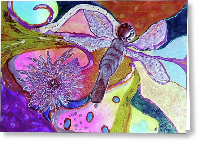 Dragonfly And Mum Greeting Card by Desiree Paquette