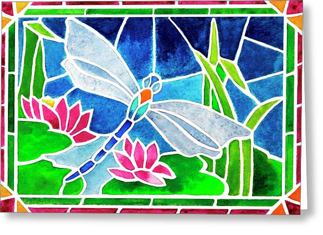 Dragonfly And Water Lilies In Stained Glass 2 Greeting Card by Janis Grau