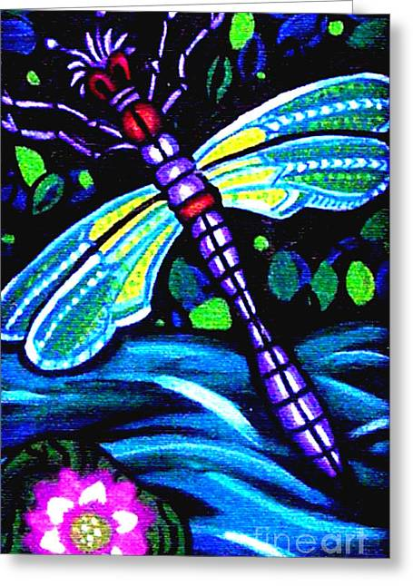 Dragonfly And Water Lily Greeting Card by Genevieve Esson