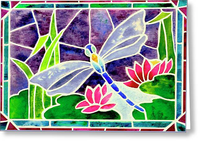 Dragonfly And Water Lily In Stained Glass Greeting Card by Janis Grau