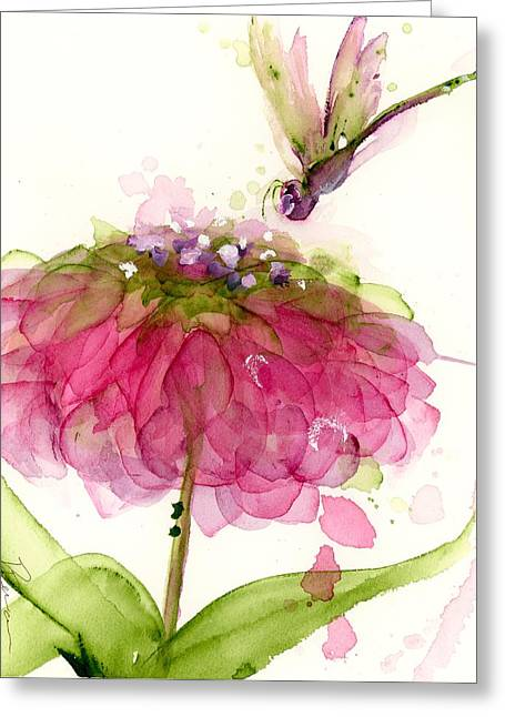 Dragonfly And Zinnia Greeting Card