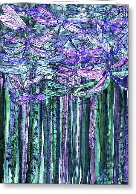 Dragonfly Bloomies 1 - Lavender Teal Greeting Card by Carol Cavalaris