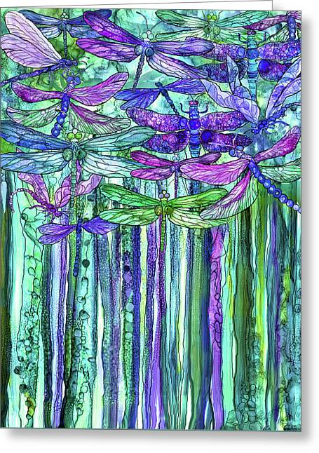 Dragonfly Bloomies 1 - Purple Greeting Card by Carol Cavalaris