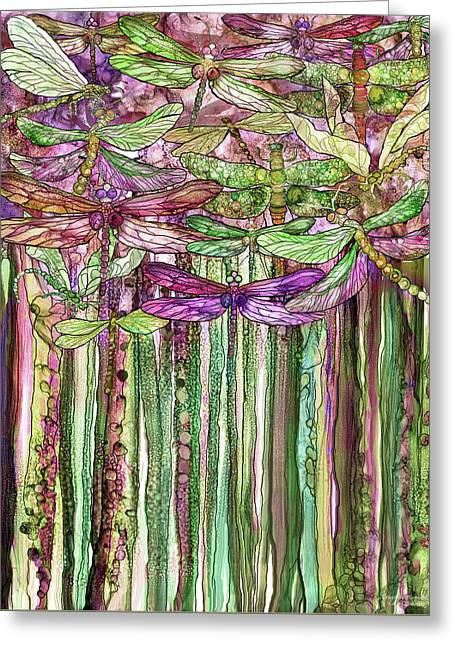 Dragonfly Bloomies 1 - Pink Greeting Card by Carol Cavalaris
