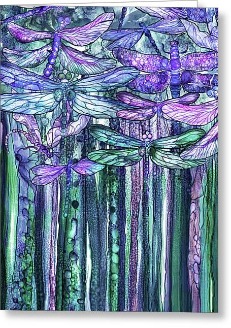 Greeting Card featuring the mixed media Dragonfly Bloomies 2 - Lavender Teal by Carol Cavalaris