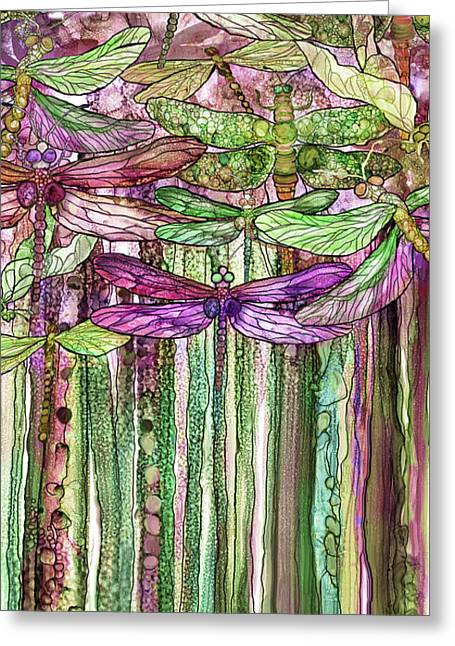Dragonfly Bloomies 2 - Pink Greeting Card by Carol Cavalaris