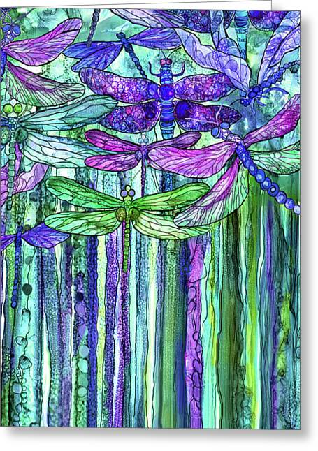 Dragonfly Bloomies 2 - Purple Greeting Card by Carol Cavalaris