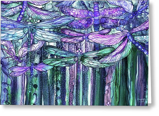 Greeting Card featuring the mixed media Dragonfly Bloomies 3 - Lavender Teal by Carol Cavalaris