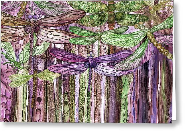 Greeting Card featuring the mixed media Dragonfly Bloomies 3 - Pink by Carol Cavalaris