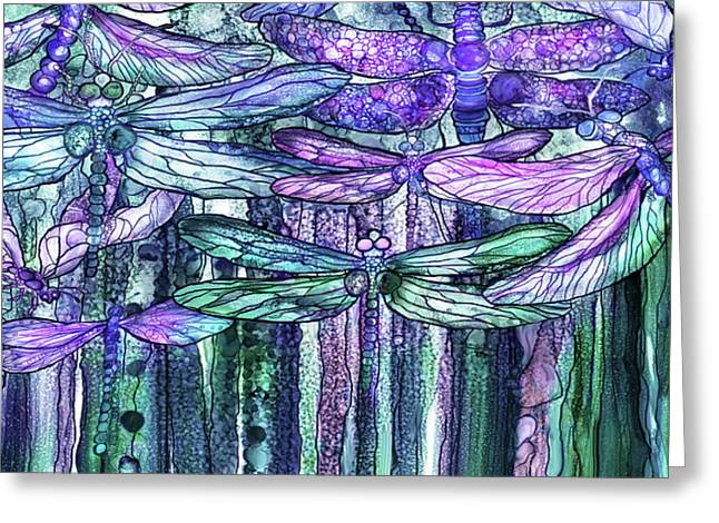 Dragonfly Bloomies 4 - Lavender Teal Greeting Card by Carol Cavalaris