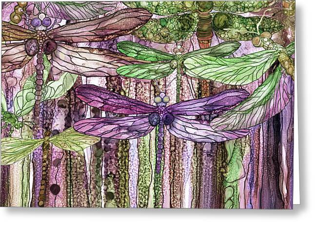 Dragonfly Bloomies 4 - Pink Greeting Card