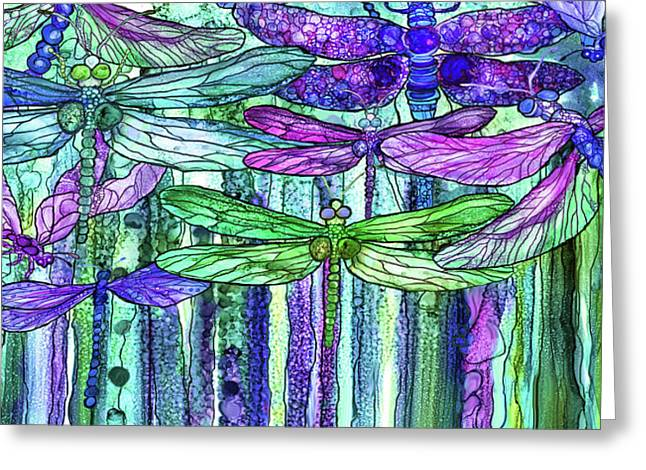 Dragonfly Bloomies 4 - Purple Greeting Card by Carol Cavalaris