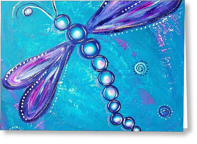 Dragonfly Bubble Art Greeting Card by Rene Waddell