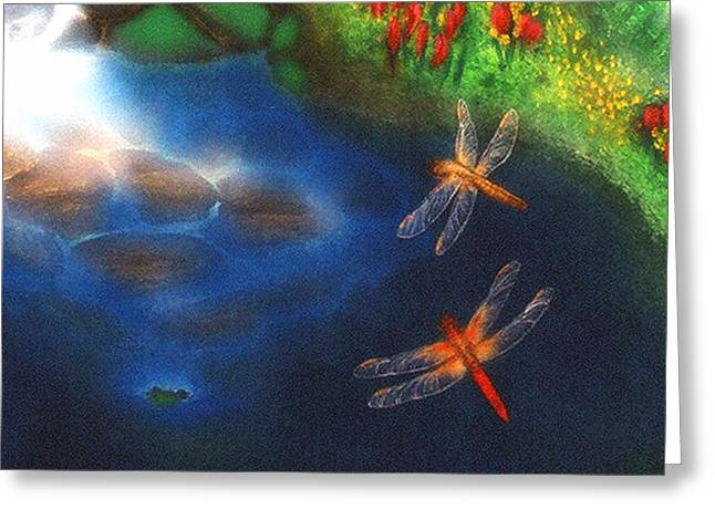 Recently Sold -  - Flying Frog Greeting Cards - Dragonfly Dance Greeting Card by Diveena Marcus
