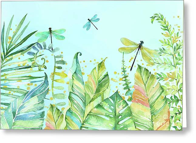 Dragonfly Garden Tropical Jungle Plants Dragonflies Greeting Card by Tina Lavoie