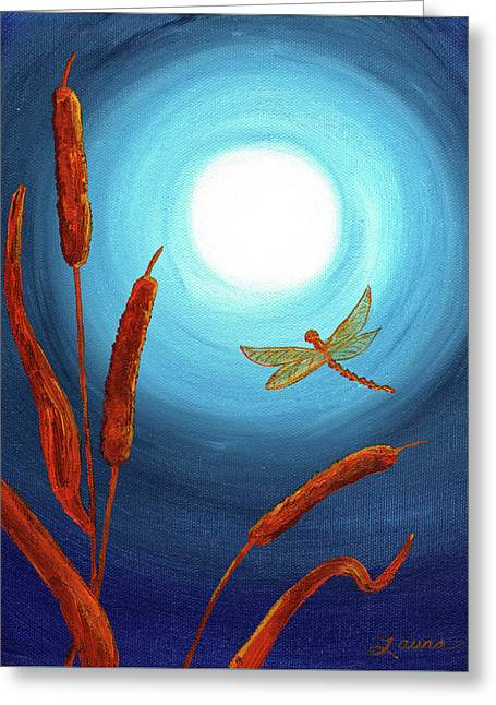 Dragonfly In Teal Moonlight Greeting Card by Laura Iverson