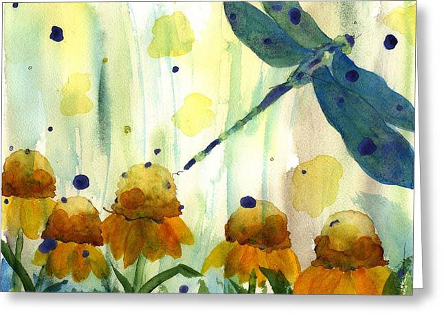 Dragonfly In The Wildflowers Greeting Card by Dawn Derman