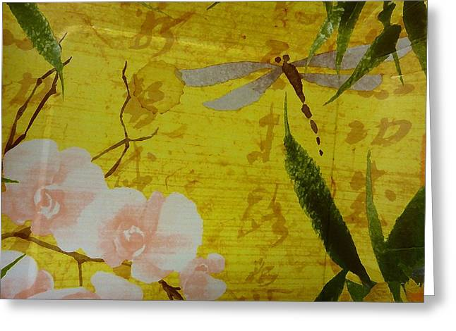 Dragonfly N Roses Greeting Card