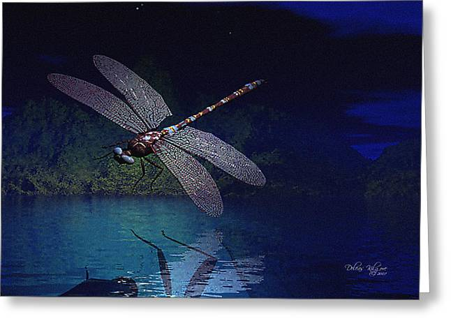 Dragonfly Night Reflections Greeting Card