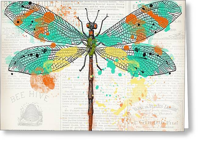 Dragonfly On Newsprint-jp3451 Greeting Card