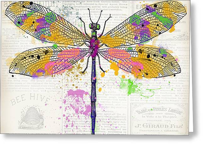 Dragonfly On Newsprint-jp3454 Greeting Card
