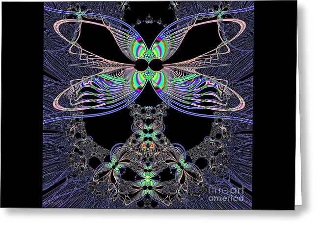 Dragonfly Queen At Midnight Fractal 161 Greeting Card by Rose Santuci-Sofranko