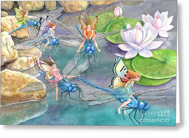 Dragonfly Races Greeting Card by Ann Gates Fiser